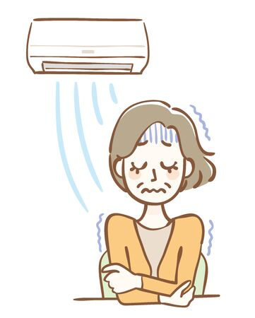 Illustration of a chilly middle-aged woman due to the air conditioner wind