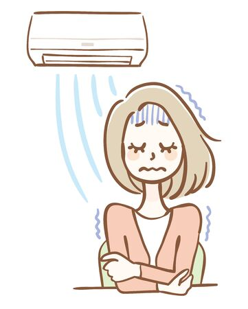 Illustration of a woman chilly due to the air conditioner wind