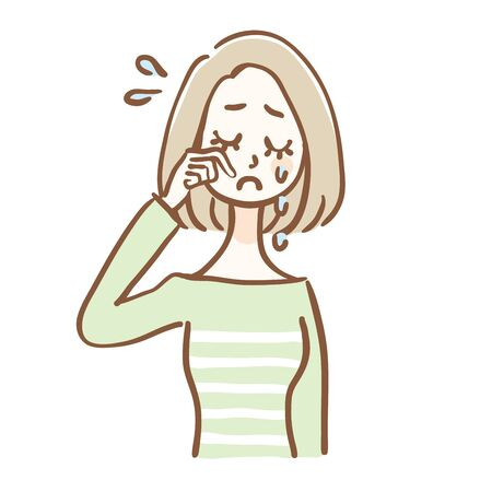 A woman is crying. It is a hand-drawn style illustration. Illustration