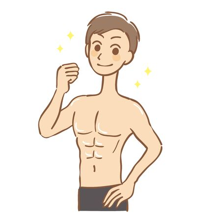 Illustration of a man with beautiful muscles