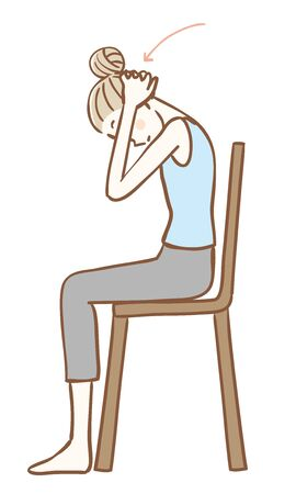 Stretching that can be done sitting on a chair Ilustración de vector
