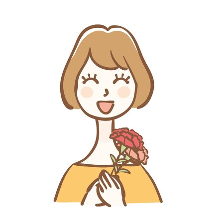 Illustration of a mother with carnation.