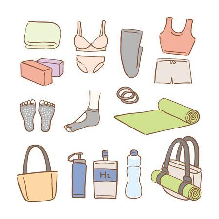 A set of yoga goods Vektoros illusztráció
