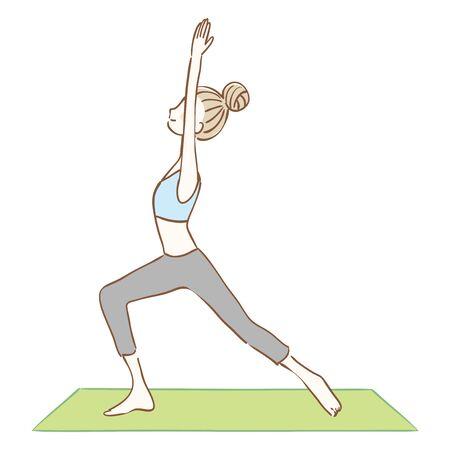 Illustration of a woman doing yoga.