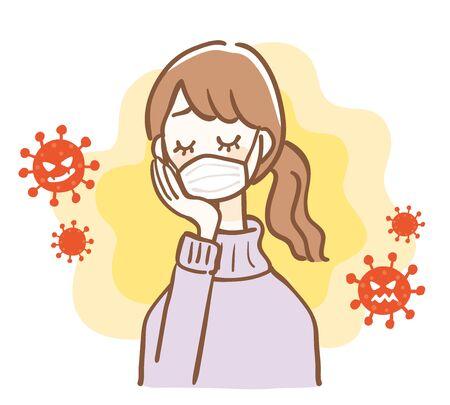 Illustration of a woman worried about coronavirus 免版税图像 - 145403708