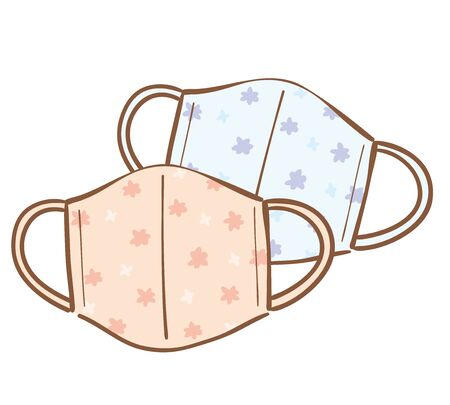 Illustration of handmade cloth face mask. In Japan, handmade products are increasing due to the lack of masks due to the impact of COVID-19. Vektorgrafik
