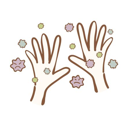 Illustration of hands with virus