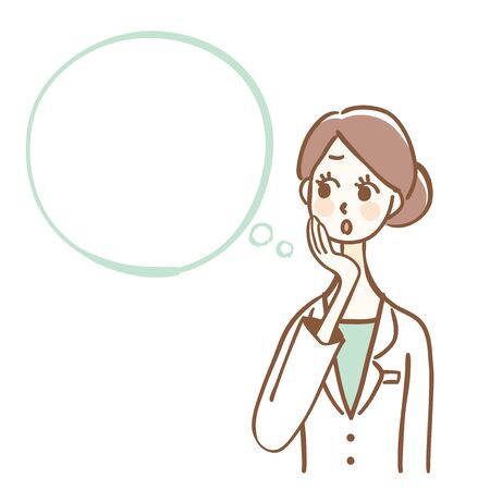 Illustration of a woman in a white coat. There is space for text.