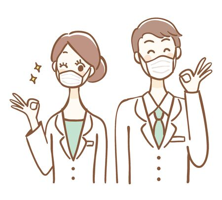 Illustration of men and women wearing surgical masks giving an OK sign. Vettoriali