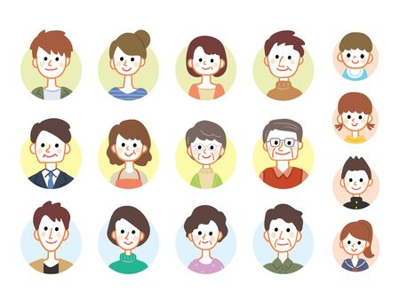 Illustration of people of different ages  イラスト・ベクター素材