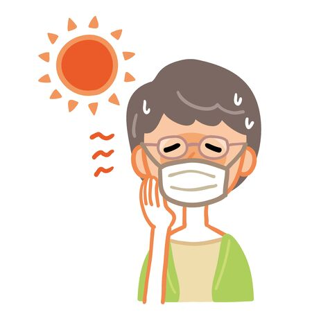 Illustration of a grandmother who wore a mask and got heat stroke