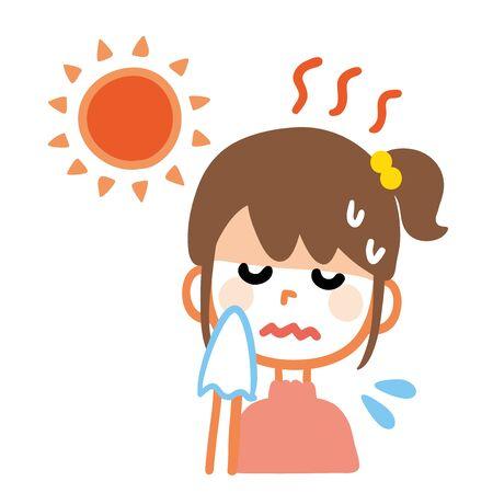 Illustration of a girl who got heat stroke