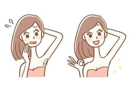 Before and after hair removal Stock Illustratie