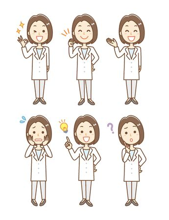Facial expression set of woman wearing white coat Ilustración de vector