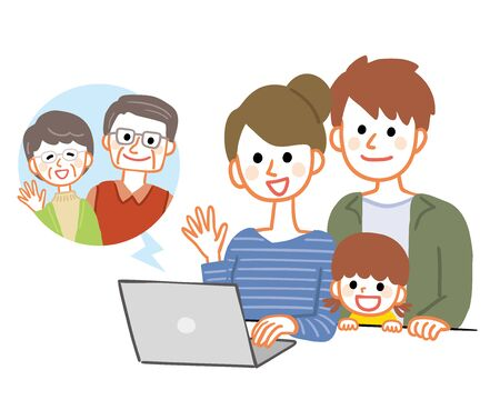 Family making video calls with grandparents living apart Illustration