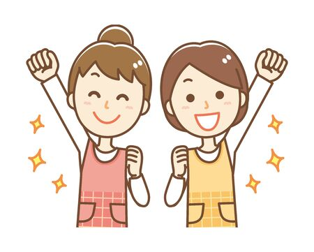 Illustrations of women wearing aprons. They are raising their fists.