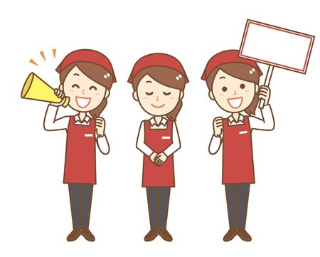 """Female employee of apron.It is a set of """"having a megaphone"""" and """"bowing"""" and """"having a signboard"""" Ilustración de vector"""