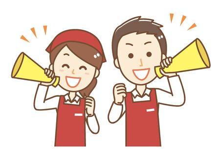 Male and female clerk wearing an apron.They have megaphones. 向量圖像