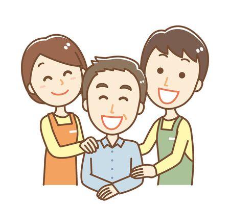 Illustration of a carer and senior men and women