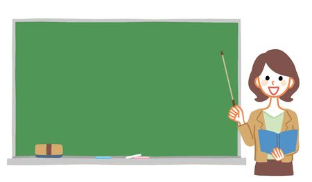 Illustration of blackboard and female teacher. The blackboard is a text space.