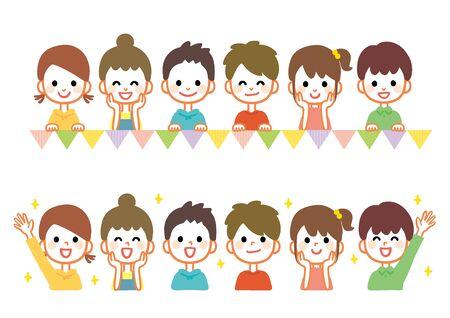 Illustration set of happy children