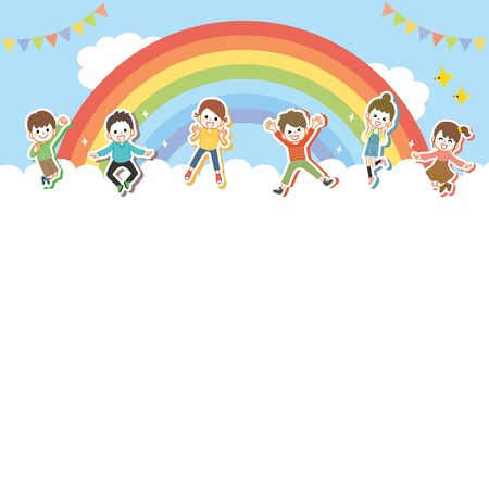 Background of children jumping cheerfully Vectores