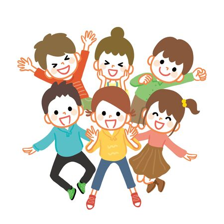 Illustration of many cheerful kids