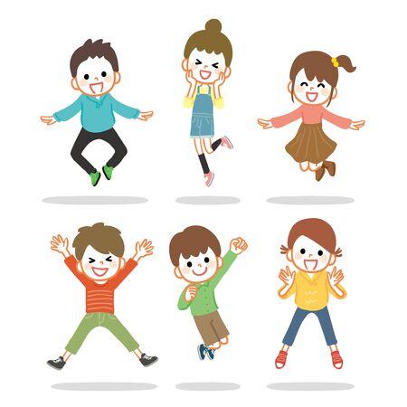 Illustration of kids cheerfully jumping