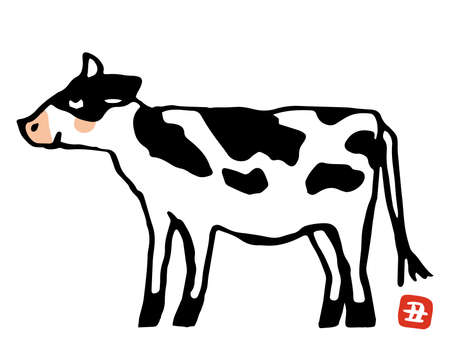 Illustration of a cow seen from the side.