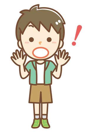 Illustration of a surprised boy