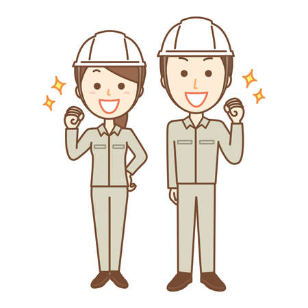 Energetic and motivated male and female factory staff