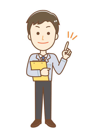 Illustration of a man wearing work clothes. He is giving advice.