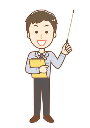 Illustration of a man wearing work clothes. He explains with a stick Stock Illustratie