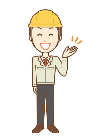 Men in working clothes wearing a helmet. He is explaining brightly
