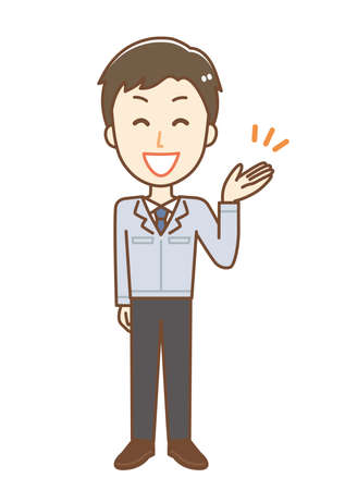 Illustration of a man wearing work clothes. He is explaining brightly.