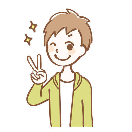 Illustration of a boy doing peace sign