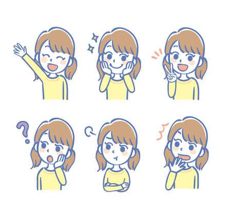 Facial expression illustrations set of girl