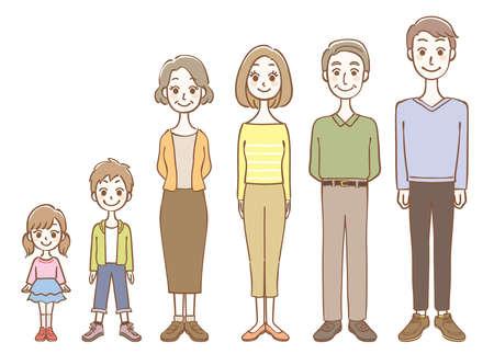 Whole body illustration set of 3 generation family Ilustração
