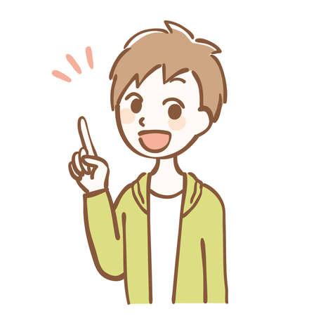 Illustration of a boy giving advice Ilustração