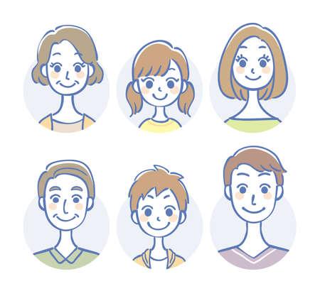 Three generation family icon set