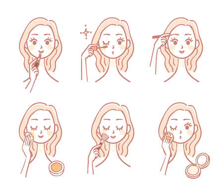 Illustration variation of a woman putting on makeup