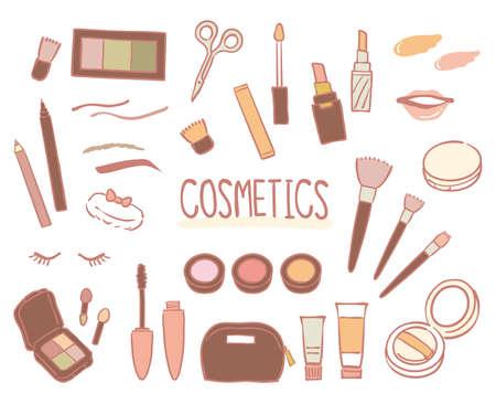 Hand drawn cosmetic illustration set