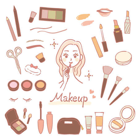 Hand drawn cosmetic illustration set