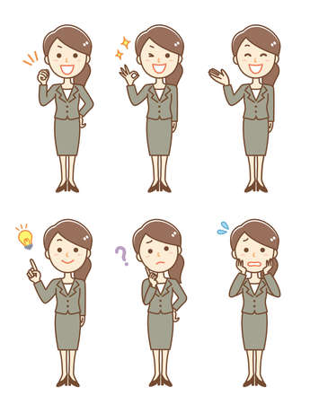 Business woman facial expression set