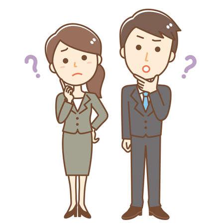 Illustration of a business person having doubts Ilustração