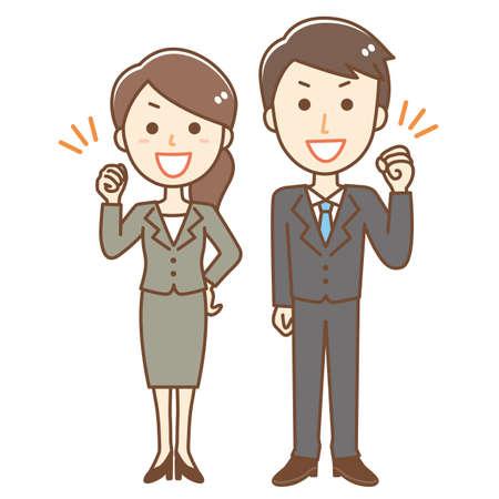 Business person doing guts pose Ilustração