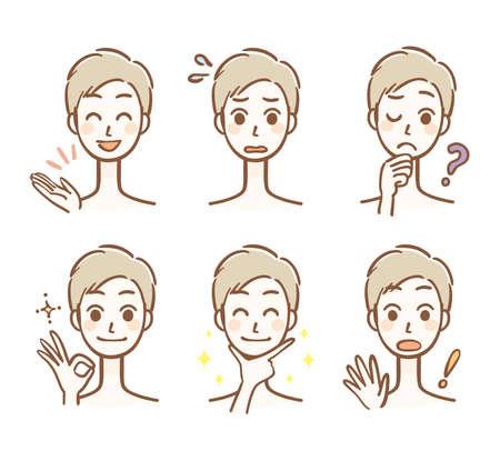 Men's facial expression set 矢量图像