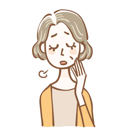 Illustration senior women who suffer from thinning hair Ilustração