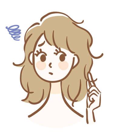 Illustration of a woman whose hair is rough Ilustração