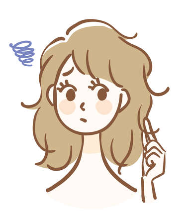 Illustration of a woman whose hair is rough Illustration
